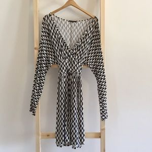 Long Sleeve Stretchy Faux Wrap Dress.